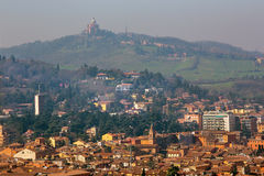 Bologna - Outlook from Torre Asinelli to west in morning with the church San Luka Stock Images