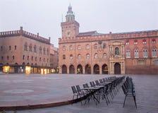 Bologna - Palazzo Comunale and Piazza Maggiore square in morning fog Stock Photos
