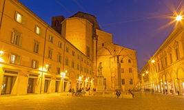 Bologna - Piazza Galvani square with the Dom or San Petronio church in Sunday morning. Royalty Free Stock Photography