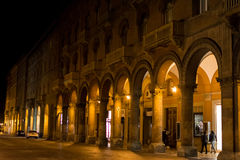 Bologna portico at night. BOLOGNA, ITALY - NOVEMBER 2015: Street with portico in historical center of Bologna, Italy Royalty Free Stock Images