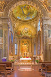 Bologna - Presbytery and main altar of church San Michele in Bosco with the paint by Frederico Bologna - Gnudi Stock Photo
