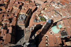 Bologna Rooftops. Image taken from the Torre Asinelli, showing the rooftops of the building surrounding the tower stock photography