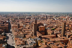 Bologna Rooftops. Image taken from the Torre Asinelli, showing the rooftops of the building surrounding the tower stock images