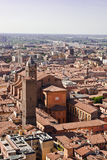 Bologna Rooftops. Image taken from the Torre Asinelli, showing the rooftops of the building surrounding the tower royalty free stock photos