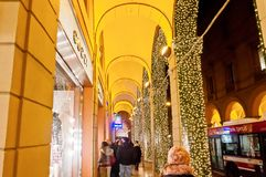 Bologna's downtown passage way, Italy Royalty Free Stock Photography