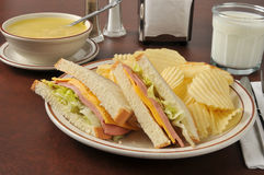 Bologna sandwich with chicken noodle soup Stock Photo