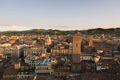 Bologna skyline. Bologna,Italy-May 17,2014:panorama of Bologna view from the famous Prendiparte tower located in the centre of the city.You can see the the red Stock Photos