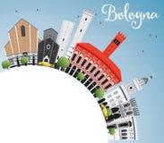 Bologna Skyline with Landmarks, Blue Sky and Copy Space. Stock Photo