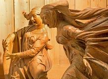 Bologna - staty från den skulpturala gruppen av sorg över död Kristus av Niccolò dell'Arca i barockkyrkan Santa Maria della Vita. Royaltyfri Fotografi