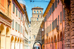 Bologna street view. Street view with city gate and galleries in Bologna in Italy Royalty Free Stock Photography