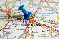 Bologna sur la carte photo libre de droits