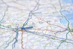 Bologna sur la carte Photographie stock libre de droits