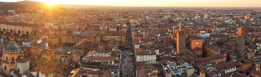 Bologna top view at sunset. Bologna top view panorama at sunset Royalty Free Stock Image