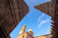 Bologna towers and Chiesa di San Bartolomeo. Bologna, Italy. Bologna towers and Chiesa di San Bartolomeo. Bologna, Emilia-Romagna, Italy Stock Photos