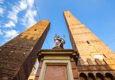 Bologna towers and Chiesa di San Bartolomeo. Bologna, Emilia-Romagna, Italy Royalty Free Stock Photo