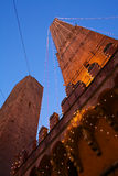 Bologna two towers. Two towers of bologna italy with christmas light Stock Photo