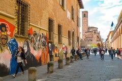 Bologna una città nel colore rosso Immagini Stock Libere da Diritti