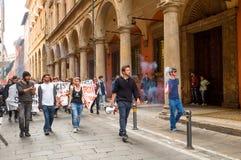 Bologna una città nel colore rosso Immagine Stock