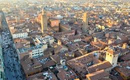 Bologna van hierboven bij zonsondergang, Emilia Romagna Region Italy 26 FEBRUARI, 2016 Stock Fotografie