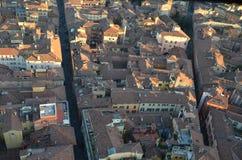 Bologna van hierboven bij zonsondergang, Emilia Romagna Region Italy 26 FEBRUARI, 2016 Stock Foto's
