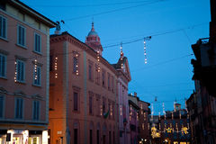Bologna, Via Castiglione, night Royalty Free Stock Photography