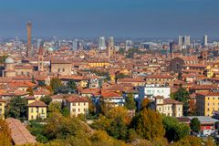 bologna Vogelperspektive der Stadt lizenzfreie stockfotos