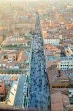 Bologna von oben genanntem bei Sonnenuntergang, Emilia Romagna Region Italy 26. FEBRUAR 2016 Lizenzfreie Stockfotos