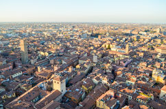 Bologna von oben genanntem bei Sonnenuntergang, Emilia Romagna Region Italy 26. FEBRUAR 2016 Stockfotos