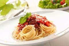 Bolognaise de los espaguetis Imagenes de archivo