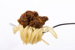 Bolognaise del espagueti y de la salsa Foto de archivo libre de regalías