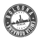 Bologne Italy Europe Round Button City Skyline Design Stamp Vector Travel Tourism. Skyline with emblematic Buildings and Monuments of this famous city royalty free illustration