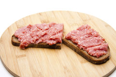 Bologne sausage on bread Stock Photo