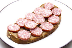 Bologne sausage with bread Stock Image