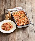 Bolognes pasta on wooden table. Bolognes pasta on rustic wooden table Royalty Free Stock Photo