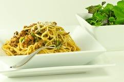 bolognese蔬菜沙拉意粉 库存图片
