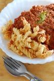 Bolognese fusili意大利面食 库存图片