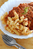 Bolognese fusili pasta Stock Images
