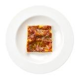 Bolognese Italiaanse geïsoleerdee het receptenplaat van lasagna's Stock Afbeelding