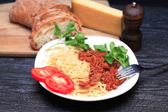 bolognese italiensk pasta Arkivbild