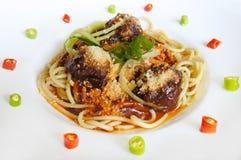 Bolognese köttbullar för spagetti med sås Fotografering för Bildbyråer