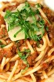 Bolognese mengde zich met Spaghetti Royalty-vrije Stock Afbeelding