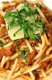 Bolognese Mixed With Spaghetti Royalty Free Stock Image