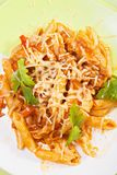 Bolognese pasta overhead closeup stock image
