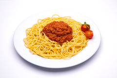 Bolognese pasta dish. On white background stock photography