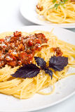 bolognese portionspagetti två Royaltyfri Fotografi