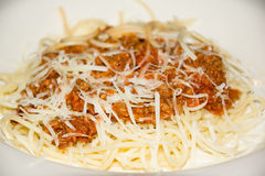 bolognese såsspagetti Royaltyfri Foto