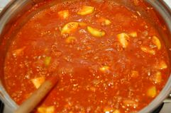 Bolognese sauce. Preparing bolognese sauce Stock Photography