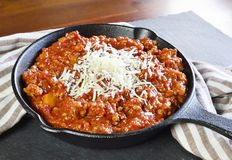 Bolognese sauce in a cooking pan or iron pan Royalty Free Stock Photography