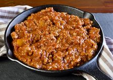 Bolognese sauce in a cooking pan or iron pan Royalty Free Stock Photos