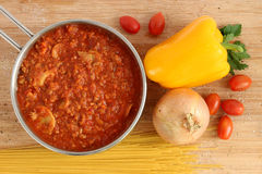 Bolognese sauce in pot Stock Images